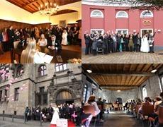 Hochzeitsfotos in Düsseldorf, am Burgplatz, im Schloßgarten, am Aquarius…